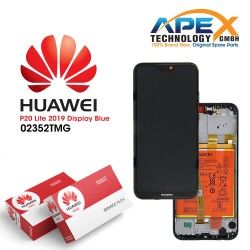 Huawei P20 Lite 2019 (GLK-L21) Display module front cover + LCD + digitizer + battery crush blue 02352TMG